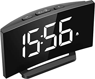 Mpow Digital Alarm Clock, 5'' Curved LED Screen, 6 Brightness, 3 Alarm Sounds, Easy Digital Clock for Kid Senior, Bedside Alarm Clock for Bedroom Kitchen Office, Snooze, 12/24H, Adjustable Volume