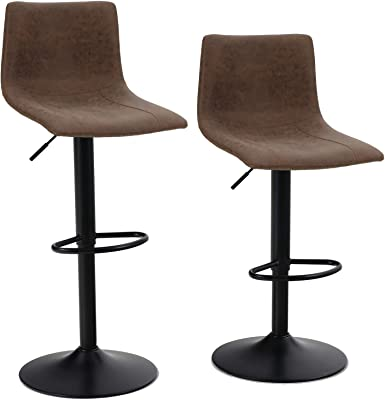 Amazon Com Set Of 2 Swivel Bar Stools With Backs Pu Leather Height Adjustable Modern Pub Kitchen Counter Height Bar Stool Chair With Chrome Base Brown Kitchen Dining