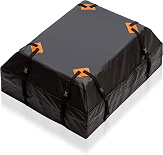 Zento Deals Waterproof Car Rooftop Cargo Bag 15 Cubic Feet, Large Storage, Carrier with Heavy Duty Straps, Fits All Racks, for Cars Side Rails Cross Bars or Basket