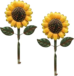 D-Fokes 2 PCS Vintage Metal Sunflower Hooks Keys Aprons Kitchen Wall Hangers Wall Decor Rustic Metal Wall Hook Accessories Holder for Home Entryway Office Bathroom Garden Art Decorative Yellow