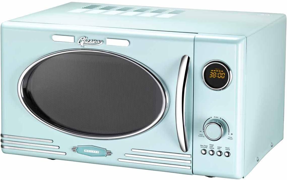 Melissa 16330122 Micro-ondes rétro / 900 W/espace de cuisson 25 l - Micro-ondes design avec grill/menthe poivrée - Acier inoxydable Menthe Poivrée