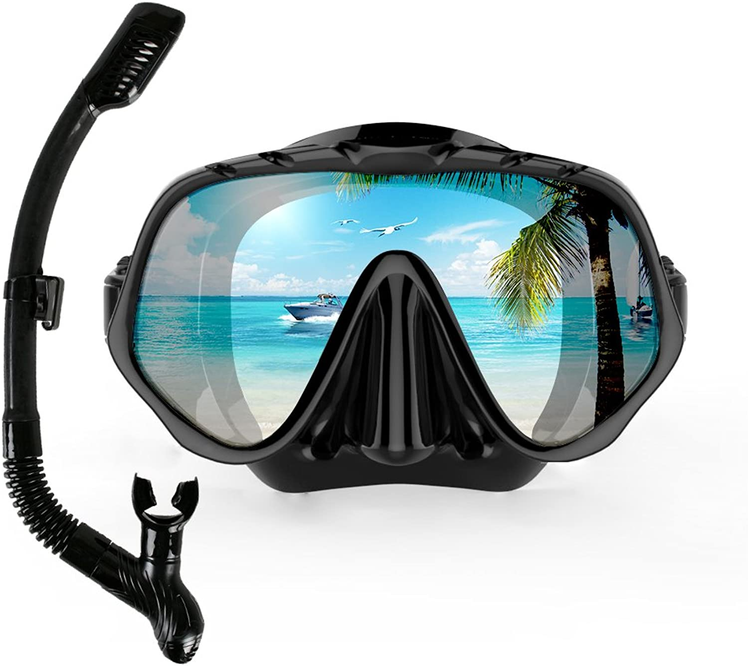 COPOZZ Snorkel Mask Set - Snorkeling Gear - Double Lens Diving Mask & Snorkel w  Dry Top Lower Purge Valve Perfect for Diving Snorkeling Swimming (41+49_Black)