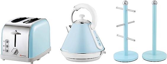 Ensemble cadeau comprenant : bouilloire, grille-pain et arbre à mug et support pour rouleau d'essuie-tout en bleu clair, r...