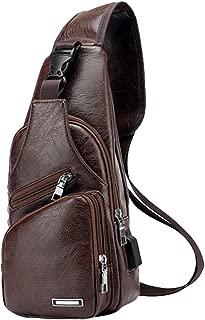 Large Men's Leather Sling Bag Chest Shoulder Backpack Crossbody Bag with USB Charging Port for Travel, Hiking,Cycling (Large Khaki)