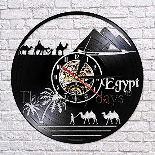 UIOLK Camello Egipcio Montar en el Desierto Viaje Arte de la Pared decoración Disco de Vinilo Reloj de Pared diseño Escena descripción decoración de la Pared
