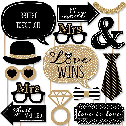Big Dot of Happiness Mrs. and Mrs. - Gold - Lesbian Wedding LGBTQ Photo Booth Props Kit - 20 Count