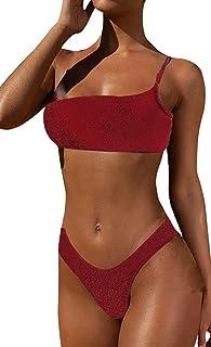 JFAN Costume da Bagno Donna Sexy Triangolo Bikini Push Up Strass Bling Glitterato Due Pezzi Una Spalla Costumi da Bagno Lu...