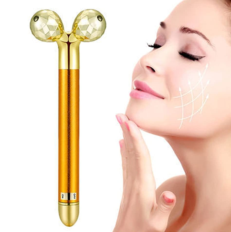 Suser Bellor Beauty Bar 24k Golden Pulse Facial Massager, Double 3D Roller Electric Sonic Depuffer Energy Gold Stick Skincare Wrinkle Treatment