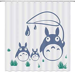 Cute Totoro Decor Shower Curtain Cartoon Illustration Green Grass,69x70 Inch Waterproof Polyester Fabric Bathroom Accessories Curtains with 12pcs Hooks