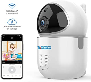 TAOCOCO 1080P Cámaras de Vigilancia, Cámara IP WiFi FHD Detección de Movimiento/Sonar, Audio Bidireccional, Visión Nocturna para Bebés/Personas Mayores/Mascotas/Pan/Tilt