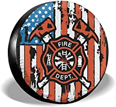 Shadidi American Flag Firefighter Spare Wheel Tire Cover Sunscreen for 14'',15'',16'',17'' Tire Diameter