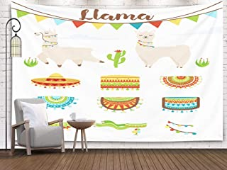 Jacrane Map Tapestry Wall Hanging, Large with 80x60 Inches of Cute Alpaca and Llama witn Cactuses Saddlery Sombrero hat Clouds Cartoon Character Art Tapestries for Dorm Bedroom Living Home Decor