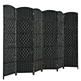 Giantex 6 Panel 6 Ft Tall Room Divider, Freestanding Wood Partition Room Dividers w/ Hand-Made Woven Paper Fiber, Indoor Outdoor Folding Privacy Screen for Balcony, Office, Living Room (Black)