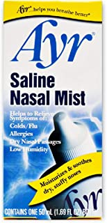 Ayr Saline Nasal Mist, 1.69-Ounce Spray Bottles (Pack of 6)