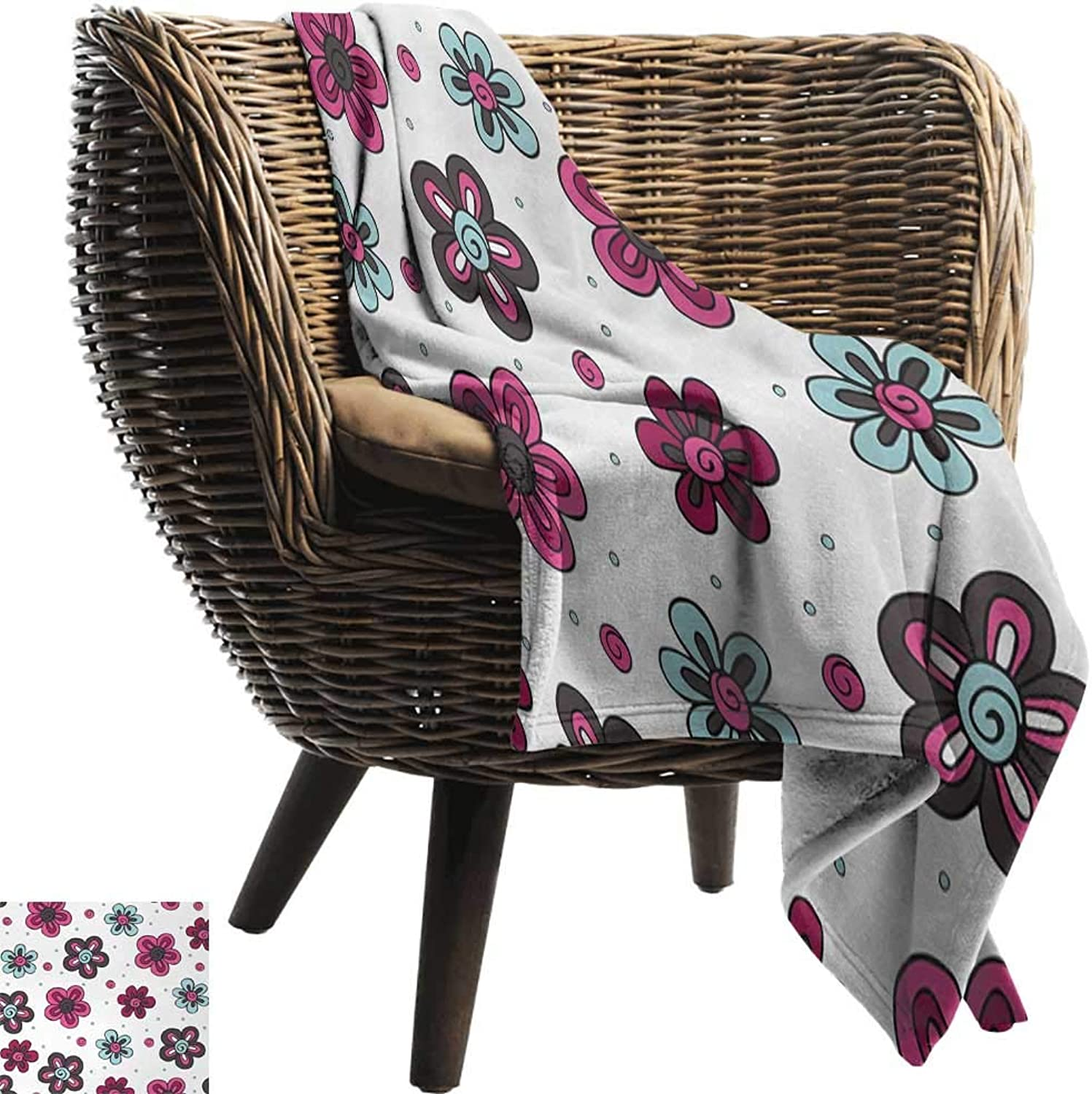 AndyTours Blanket,Floral,Cute Florets Buds Kids Girls Stylish Pattern Summer Beauty Art Print,Magenta Grey Light bluee,Flannel Blankets Super Soft Warm Thick Blanket for Home 50 x70