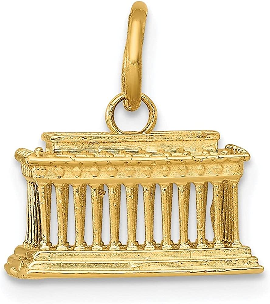 14k Yellow Gold Lincoln Memorial Pendant 13.5 2021 Ranking TOP5 mm 12 W- L-