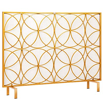 VIVOHOME 40.9 x 31.1 Inch Single Panel Wrought Iron Fireplace Screen Metal Decorative Mesh Fire Spark Guard Fireplace Cover Gold by VIVOHOME