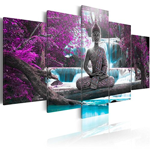 murando - Cuadro en Lienzo Buda 200x100 cm Impresión de 5 Piezas Material Tejido no Tejido Impresión Artística Imagen Gráfica Decoracion de Pared Oriente Zen Cascada c-A-0021-b-o