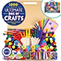 Horizon Group USA 1000+ Pieces Ultimate Box Of Crafts,Homeschool Preschool DIY Craft Kit Set For Kids & Toddlers.Includes Foam Sheets,Stickers,Feathers,Pipe Cleaners,Wood Sticks,Gemstones,Beads & More from Horizon Group USA