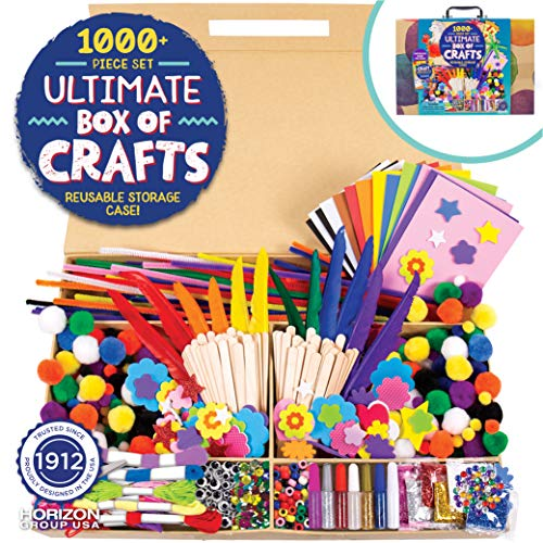 Horizon Group USA 1000+ Pieces Ultimate Box Of Crafts,Homeschool Preschool DIY Craft Kit Set For Kids & Toddlers.Includes Foam Sheets,Stickers,Feathers,Pipe Cleaners,Wood Sticks,Gemstones,Beads & More