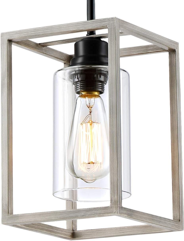 PEESIN Farmhouse Vintage Square White Pendant Phoenix Mall Lighting Faux-Woo Popular brand