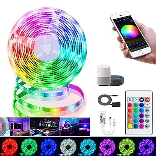Tiras LED WiFi 5M,Tiras LED 5050 RGB WiFi Inteligente Luces LED Compatible con Alexa y Google Home,Controladas por APP, Tira de LED Impermeable IP65 para Decoración Hogar,Dormitorio,TV,Cocina