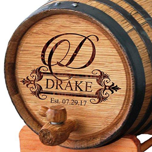 Personalized Whiskey Barrel - Engraved Wine Barrel - Custom Oak Mini Cask - Fancy Design (2 Liter Barrel)