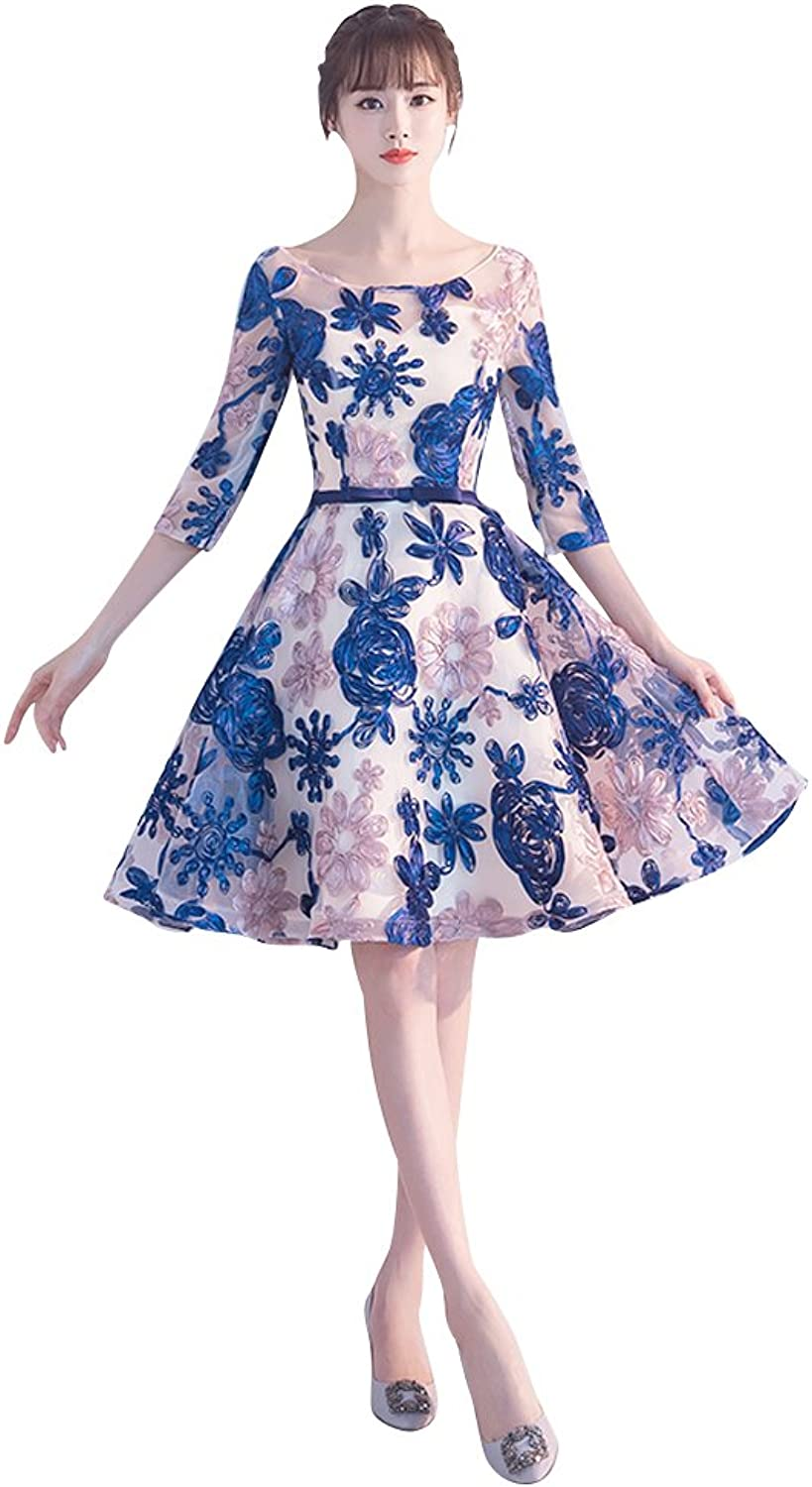 BeautyEmily Evening Dresses Organza Flowers Simple Casual Dresses Short Sleeves