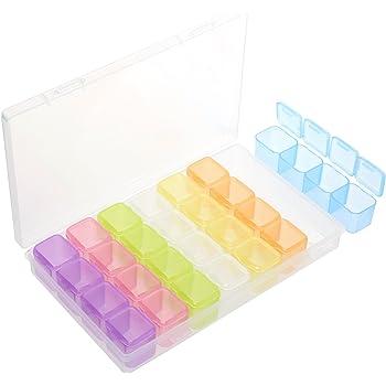 5 Stück 15 Grid Perlen Strasssteinen Schmuck Glitter Box Aufbewahrungsbox