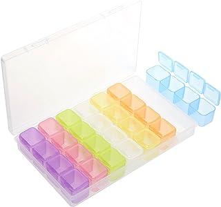 Segbeauty® Organizador de Joyas, Colorido Cajas de Almacenamiento de Cuentas Pequeñas con Tapas 28 Rejillas, Recipientes de Plástico para Joyería, Tiny Accessories Contenedor Case