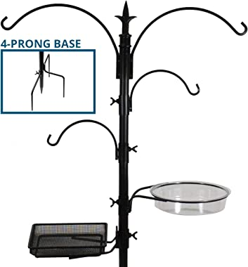 Sorbus Bird Feeding Bath Station, Black Metal Pole with Prongs for Bird Feeders with Ground Stake Prongs, Great for Birds Outdoors, Backyard, Garden, 7ft Tall - (Black)
