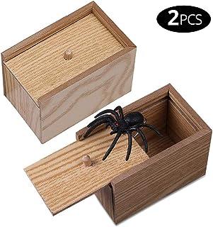 MIKIROY 2 PCS Wooden Spider Box Prank Scare, Handmade Fun Practical Surprise Joke Boxes