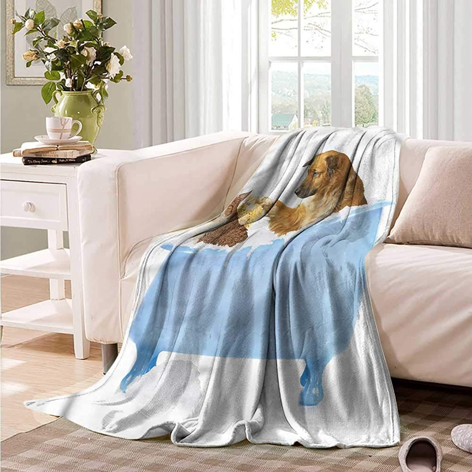 Oncegod Baby Blanket Cat Dog and Cat in Bathtub Portable Car Travel Cover Blanket 60  W x 40  L