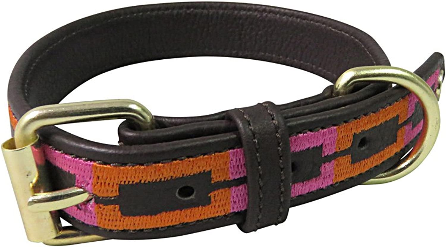 Halo Dog Collar Leather with Sam Dog Collar   color  Brown orange Hot Pink, Size  Small