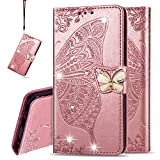 IMEIKONST Wallet Case for Moto E6 Plus, Bling Diamond