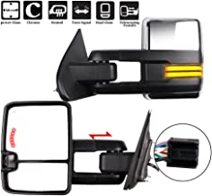 ECCPP Towing Mirrors, A Pair of Exterior Automotive Mirror fit 2014-2018 Chevy Silverado GMC Sierra with Running Reversing Lights Power Operation Heated Arrow Signal Chrome Housing