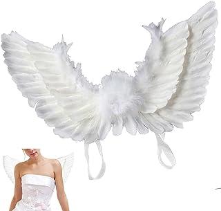 Newdance 天使の羽 天使の翼 悪魔の翼 女神風 ハロウィン コスプレ コスチューム 大人用仮装 羽 撮影 仮装 小道具 演出用小物 男女共用 パフォーマンス 文化祭 結婚式 イベント パーティー 60x40cm (ホワイト)