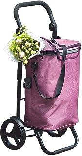 LQBDJPYS Lightweight Shopping Trolley Wheeled Aluminum Push Cart Purple Large Capacity Travel Luggage Cart Foldable 2 Whee...