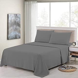 Cotton Sheets - 4 Pcs Bed Seet Set - Long Staple Cotton Sheets, 400 Thread Count - 100% Organic Cotton Size (Short Queen- Dark Grey Solid)