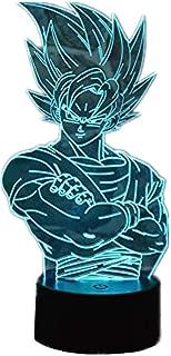 AI LI WEI Anime Dragon Ball Z Super Saiyan 3D Stéréo Vision Night Light Jeu Caractère Lampe de Chevet LED Lampe de Bureau Touch Télécommande 16 Couleur Enfants Cadeau Cadeau Jouet (Super Saiyan)