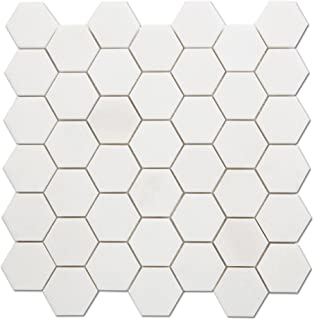 Diflart White Thassos Marble 2 Inch Hexagon Mosaic Tile Backsplash for Kitchen Bathroom Pack of 3