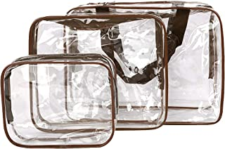 PVC Travel Storage Bags Clear Luggage Organizer Pouch Packing Cube Clothing Sorting Packages Pack of 3Pcs Brown