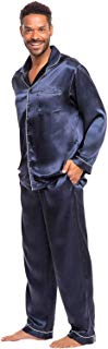 Alexander Del Rossa Mens Satin Pajamas, Long Button-Down...