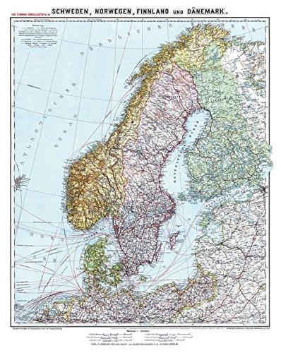 Historische Karte: SCHWEDEN, NORWEGEN, FINNLAND und DÄNEMARK - um 1910 [gerollt]: Carl Flemmings Generalkarte, No. 30