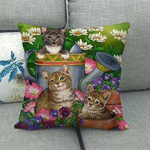Lindo Gato Lindo Animal doméstico Lino Abrazo Funda de Almohada Almohada Abrazo Funda de Almohada 1432-4_45 * 45cm