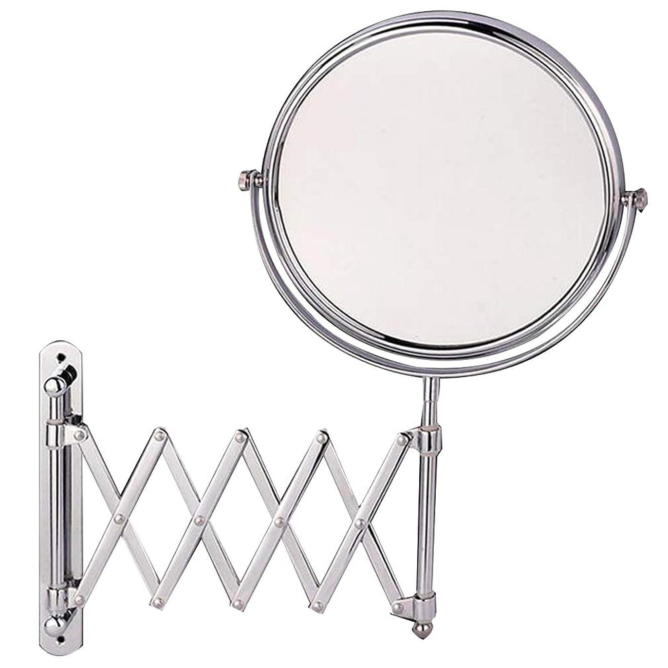 CUUYQ 壁掛け式 化粧鏡、両面 3倍拡大 けメイクミラー 360 °回転 伸縮可能折り 化粧ミラー 8インチステンレススチール,Silver