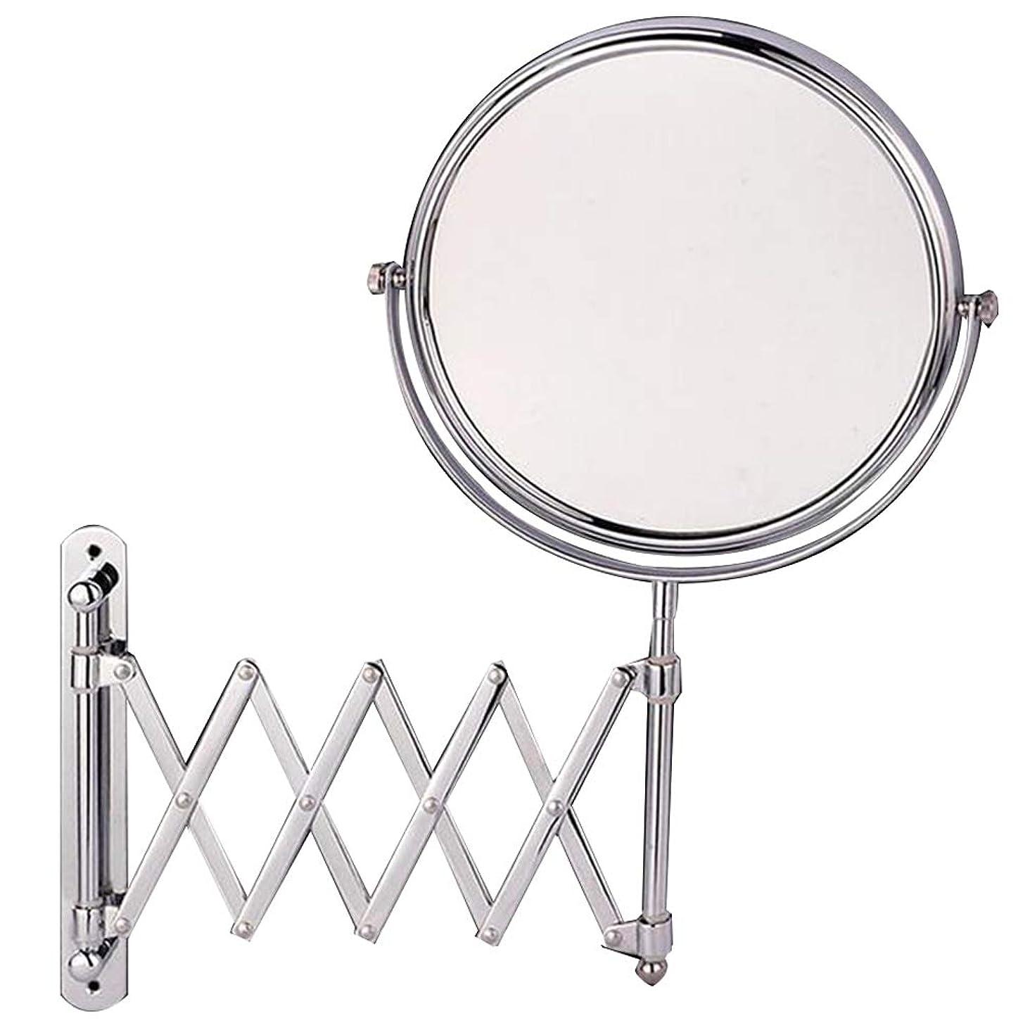 要塞ポーチゴールドCUUYQ 壁掛け式 化粧鏡、両面 3倍拡大 けメイクミラー 360 °回転 伸縮可能折り 化粧ミラー 8インチステンレススチール,Silver