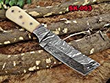 8' Long hand forged Damascus steel Tanto blade pocket knife, custom made skinning Knife, Available in Bull horn, Camel bone, and wood scales with Damascus Bolster, Cow hide leather sheath (Camel Bone)