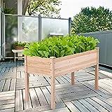 Camas de jardín para verduras Cama de madera decorativa para exteriores, kit de mesa para verduras, hierbas, flores Verduras al aire libre Patio interior Invernadero Cama de jardín elevada Caja de pla