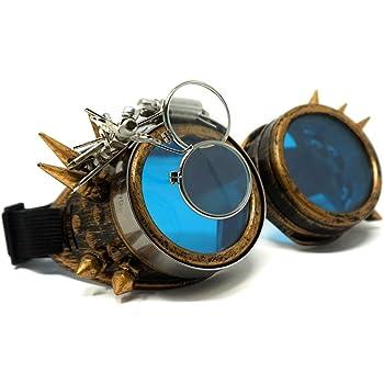 TM con pinchos antiguo y victoriano morefaz Gafas protectoras para cosplay de estilo g/ótico incluye juego de cristales de colores diferentes con protecci/ón UV400 steampunk